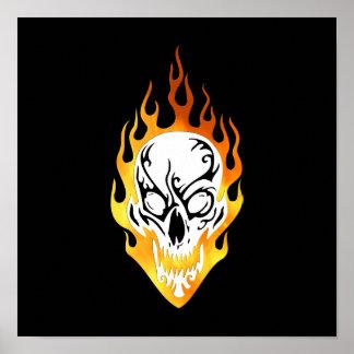 Flaming Skull Tattoo Poster