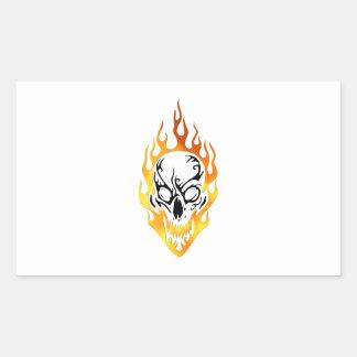 Flaming Skull Tattoo Rectangular Sticker
