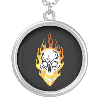 Flaming Skull Tattoo Round Pendant Necklace