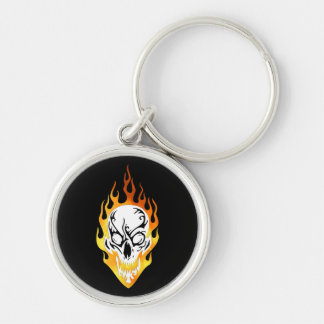 Flaming Skull Tattoo Silver-Colored Round Keychain