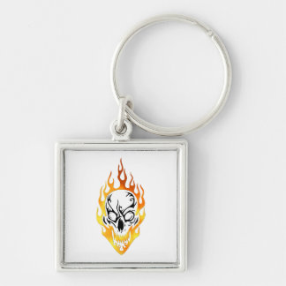 Flaming Skull Tattoo Silver-Colored Square Keychain