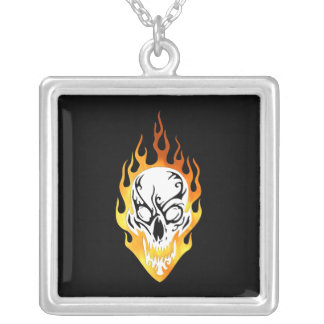 Flaming Skull Tattoo Square Pendant Necklace