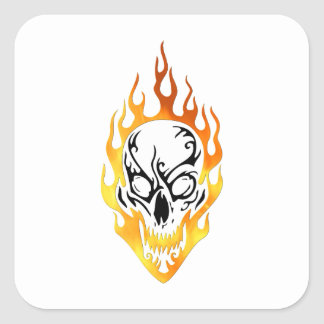 Flaming Skull Tattoo Square Sticker