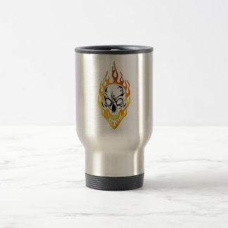 Flaming Skull Tattoo Travel Mug