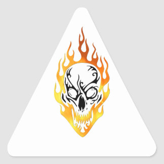 Flaming Skull Tattoo Triangle Sticker