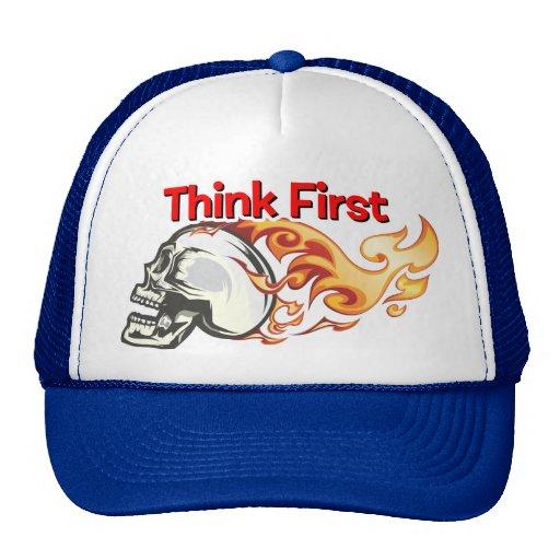 Flaming Skull - Think First Trucker Hat
