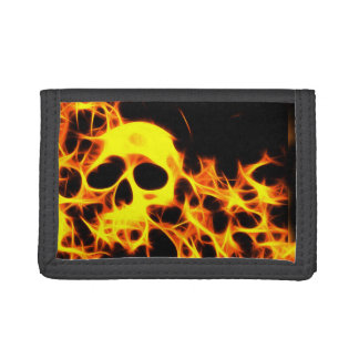 Flaming skull trifold wallets