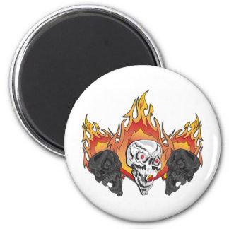 Flaming Skulls 2 Inch Round Magnet
