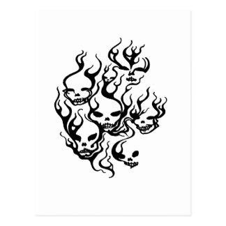 Flaming Skulls-blk Post Cards