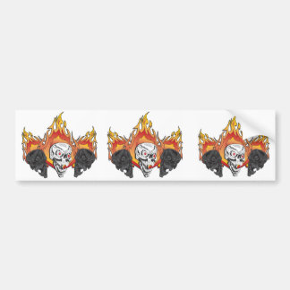 Flaming Skulls Bumper Sticker