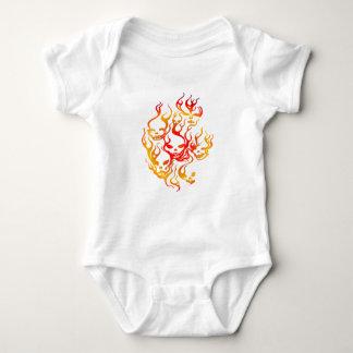 Flaming Skulls-multi T Shirt