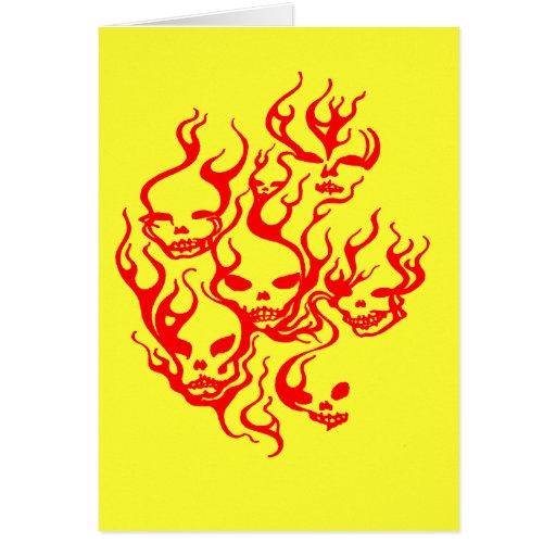 Flaming Skulls-red Greeting Card