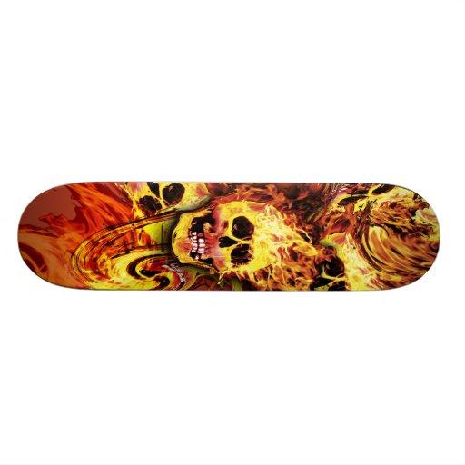 Flaming skulls Skateboard