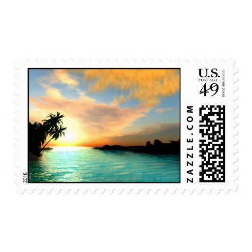 Flaming Sky Postage Stamp