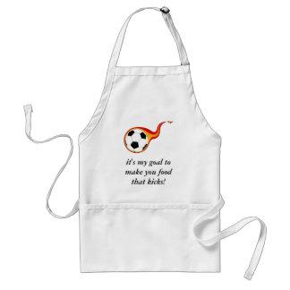 flaming-soccer-ball-01, it's my goal to make yo... adult apron