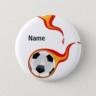 flaming SOCCER ball badge Button