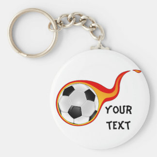 flaming soccer ball basic round button keychain
