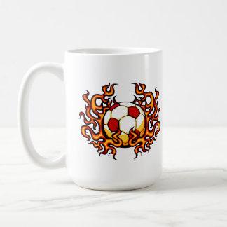 Flaming Soccer Ball Coffee Mug