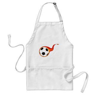 Flaming soccer ball fan adult apron