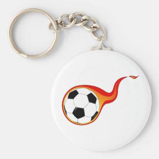 Flaming soccer ball fan key chain