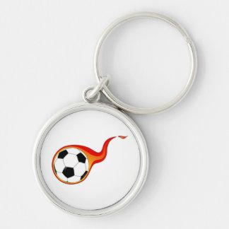 Flaming Soccer Ball Key Chain