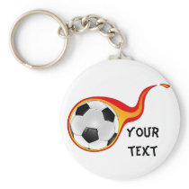 flaming soccer ball keychain