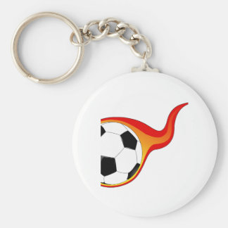 Flaming Soccer Ball Key Chains
