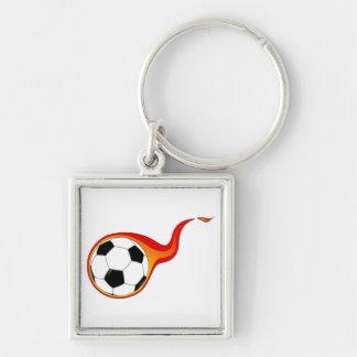 Flaming Soccer Ball Keychain