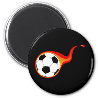 Flaming soccer ball refrigerator magnets