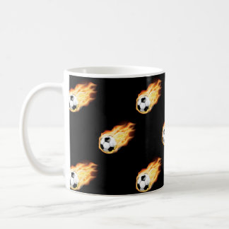 Flaming Soccer Ball Pattern, Fire Balls Classic White Coffee Mug