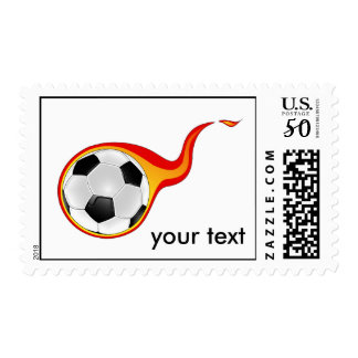 flaming soccer ball postage