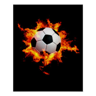Flaming Soccer Ball Poster