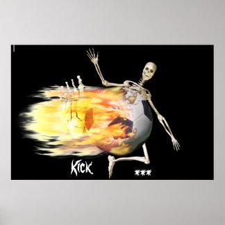 Flaming soccer ball poster