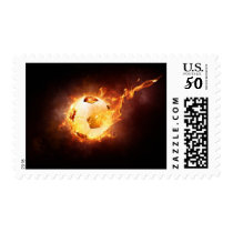 Flaming Soccer Ball Sports Stamp