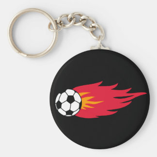 Flaming Soccer Ball T-shirts and Gifts Key Chains