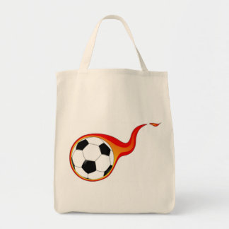 Flaming Soccer Ball Tote Bag