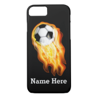 Flaming Soccer iPhone 6 Cases with YOUR TEXT