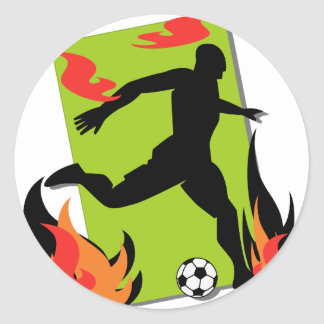 Flaming Soccer T shirts and Gifts Round Stickers