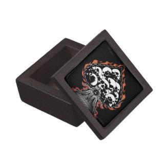 Flaming Spade with Skulls Keepsake Box