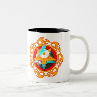 Flaming Star 6th Birthday Gifts Two-Tone Coffee Mug