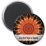 Flaming Sun 2 Inch Round Magnet