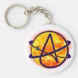 Flaming Sun Atheist Symbol Basic Round Button Keychain
