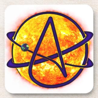 Flaming Sun Atheist Symbol Beverage Coaster