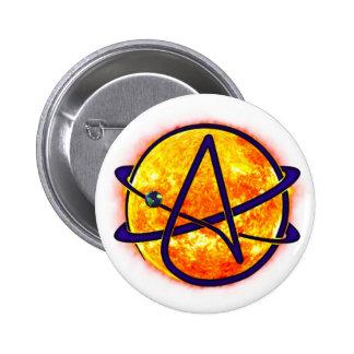 Flaming Sun Atheist Symbol Button