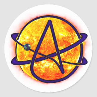 Flaming Sun Atheist Symbol Classic Round Sticker
