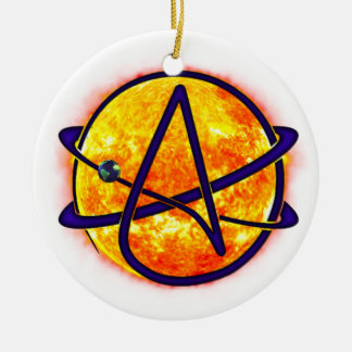 Flaming Sun Atheist Symbol Double-Sided Ceramic Round Christmas Ornament