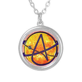 Flaming Sun Atheist Symbol Round Pendant Necklace