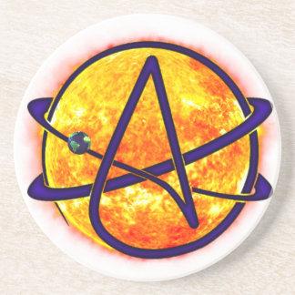 Flaming Sun Atheist Symbol Sandstone Coaster
