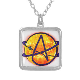 Flaming Sun Atheist Symbol Silver Plated Necklace