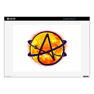 "Flaming Sun Atheist Symbol Decals For 15"" Laptops"